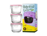 LivingStyles Glasslock 3 Piece Round Baby Food Container Set
