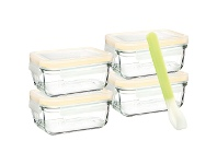 LivingStyles Glasslock 5 Piece Rectangular Baby Food Container Set with Silicone Spoon