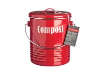 LivingStyles Typhoon Vintage Kitchen Compost Caddy - Red