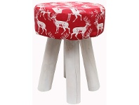 LivingStyles Betoh Fabric and Solid Timber Round Stool, Red Deer