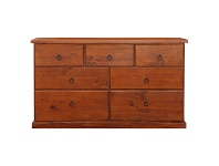 LivingStyles Alford Pine Timber 7 Drawer Chest, 140cm
