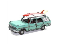 LivingStyles Boutica Handmade Tin Vehicle Model - Teal EH Station Wagon with Surfboards