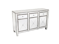 LivingStyles Apolo Mirrored 3 Door 3 Drawer Sideboard, 130cm, Antique Silver