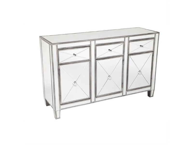Apolo Mirrored 3 Door 3 Drawer Sideboard, 130cm, Antique Silver