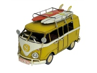 LivingStyles Boutica Handmade Tin Vehicle Model - Yellow Kombi with Surfboards