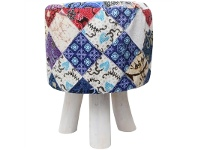 LivingStyles Suran Batik Fabric and Solid Timber Round Stool