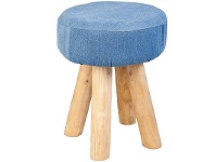 LivingStyles Tirani Denim and Solid Timber Round Stool