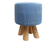 LivingStyles Embani Denim and Solid Timber Round Stool