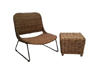 LivingStyles Drongan Rattan Lounge Chair with Side Table Set