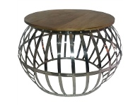 LivingStyles Jelo Timber Top Metal 80cm Round Coffee Table