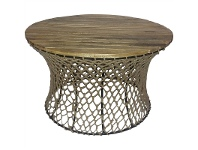 LivingStyles Fishnet Timber Top Metal 75cm Round Coffee Table