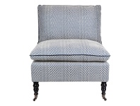 LivingStyles Candace Fabric Lounge Chair, Blue Chevron