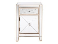 LivingStyles Apolo Mirrored Bedside Table, Antique Gold