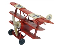 LivingStyles Boutica Handmade Tin Aircraft Modle - Red Baron Triplane, 16cm
