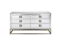 LivingStyles Rochester Antique Mirrored 6 Drawer Chest, 150cm
