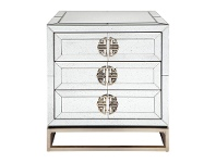 Rochester Antique Mirrored 3 Drawer Bedside Table
