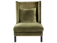 LivingStyles Lourdes Fabric Wing Chair, Moss