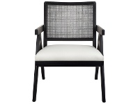 LivingStyles The Imperial Oak Timber Armchair, Black / White