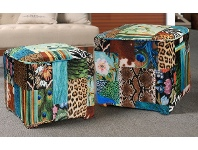 LivingStyles European Designed Patterned Square Ottomans - Set Of 2