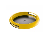 LivingStyles Wesco Spacy Steel Serving Tray with Large Handles - Lemon Yellow