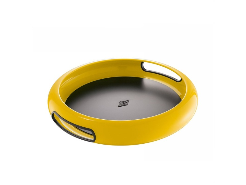 Wesco Spacy Steel Serving Tray with Large Handles - Lemon Yellow