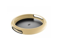 LivingStyles Wesco Spacy Steel Serving Tray with Large Handles - Almond
