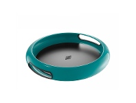 LivingStyles Wesco Spacy Steel Serving Tray with Large Handles - Turquoise