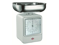 LivingStyles Wesco Stainless Steel Retro Scale with Clock - White