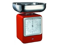 LivingStyles Wesco Stainless Steel Retro Scale with Clock - Red