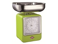 LivingStyles Wesco Stainless Steel Retro Scale with Clock - Lime Green