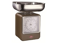 LivingStyles Wesco Stainless Steel Retro Scale with Clock - Chocolate