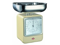 LivingStyles Wesco Stainless Steel Retro Scale with Clock - Almond