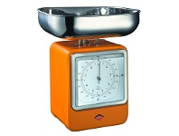 LivingStyles Wesco Stainless Steel Retro Scale with Clock - Orange