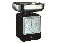 LivingStyles Wesco Stainless Steel Retro Scale with Clock - Black