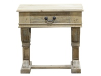 LivingStyles Curtis Reclaimed Pine Timber Side Table - Weathered Natural