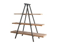 LivingStyles Industrial Iron Tripod Display Shelf with Timber Shelves