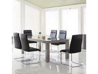 LivingStyles Lark High Gloss 200cm Dining Table with Glass Top (Table Only)