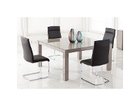 LivingStyles Lark High Gloss 150cm Square Dining Table with Glass Top (Table Only)