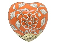 LivingStyles Peony Hand Painted Ceramic Heart