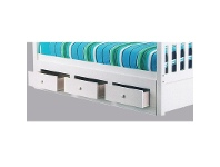 LivingStyles 3 Drawer Underbed Storage Unit in Arctic White - Single Size