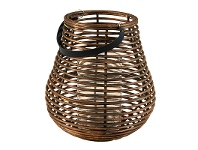 LivingStyles Ernestine Round Curve Rattan Lantern with Glass Insert