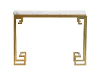 LivingStyles Cleopatra Marble Top Iron Console Table, Gold