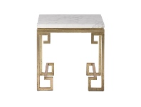 LivingStyles Cleopatra Marble Top Metal Side Table, Gold