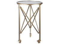 LivingStyles Tennyson Glass Top Metal Side Table with Castors