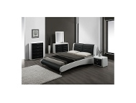 LivingStyles Gitzo Morden PU Leather Queen Bed - Black & White (Bed Only)
