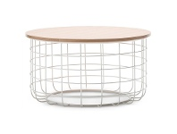 LivingStyles Gabriela Wooden Top Metal Wireframe 80cm Round Coffee Table - Light Oak/White