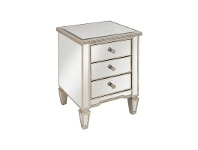 LivingStyles Cassidy Ribbed Top Mirrored 3 Drawer Bedside Table
