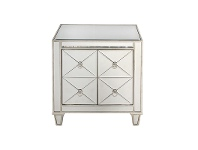 LivingStyles Bently Mirrored 2 Door Bedside Table