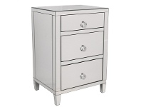 LivingStyles Glamour Mirrored 3 Drawer Bedside Table