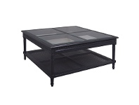 LivingStyles Polo Glass Top Wooden 110cm Square Coffee Table - Black